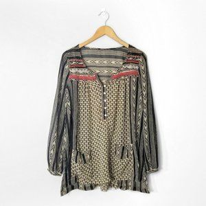 FREE PEOPLE Tan Black Tribal Embroidered Blouse